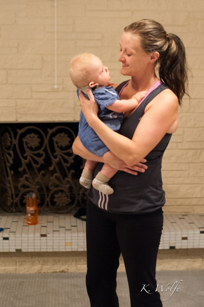 Rachelle is great about cuddling babies so moms get their full work out.