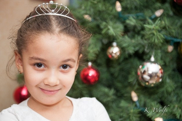 Six year old Lalla went up to her room and put on a beautiful dress and tiara for her photo.