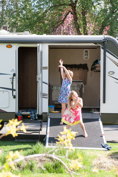 Gabi & Ella kept us entertained with their trailer dance party