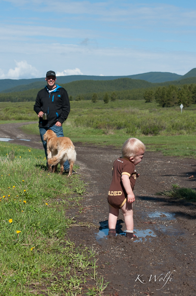 When I was getting Kane out of his muddy clothes he decided to walk away, but then was upset when he walked into another puddle in his socks.