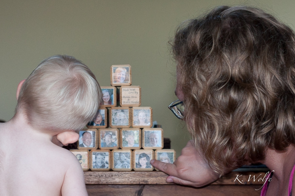 Aunties Erin and Natalie made Kane building blocks with members of his family on them. Such a great idea!
