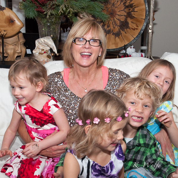 We managed to get all four May grandkids together for a couple shots with Grandma. I love this one because it looks like they are exploding off her lap!