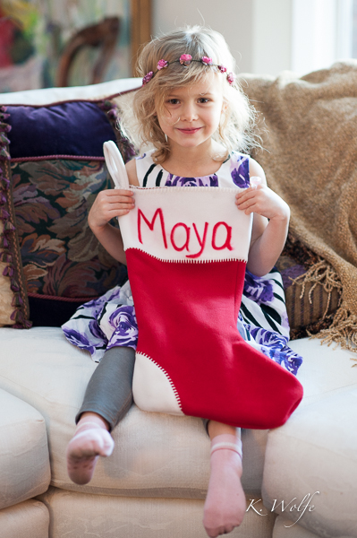 As the grandkids arrived, I got shots of each of them with their stocking.