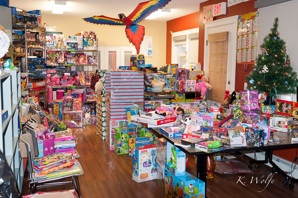 A glimpse of some of the gifts donated to RMH by Edmontonians. This room is their classroom which  RMH's classroom,