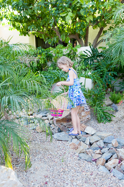 Maia checking out her surroundings for all the eggs the Easter bunny hid.