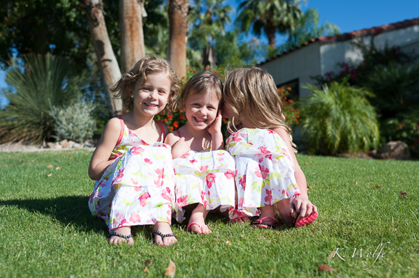 Maya, Kiana and Isla in their pretty new dresses.