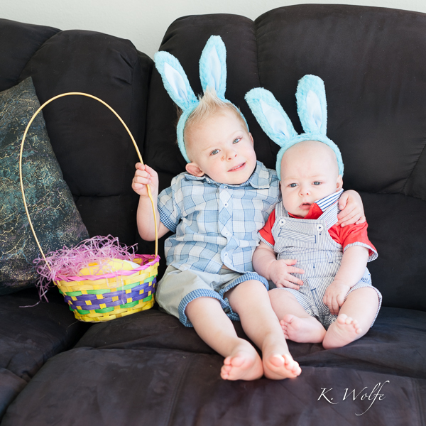 A quick shot while their Easter outfits are still pristine.