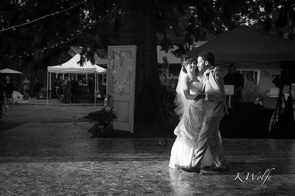 The sun appeared to highlight their first dance.
