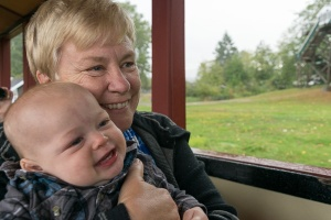 And a happy snap of Nana and Mav on the train to make you think the emotional part is over...