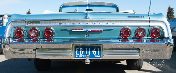His 1964 Chev Impala was orginally purchased from Edmonton Motors. If you look on the left side above the tail lights you will see an original Edmonton Motors decal.