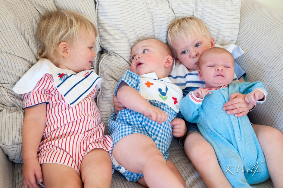 When all four male cousins got together there wasn't  that much interest in Mason and there was definitely no way they were all going to look in one direction! Though personally this kind of image says a lot more to me than one where they are all looking at the camera.